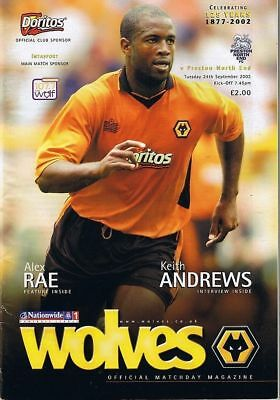 Wolverhampton  V Preston North End 1St Div 24/9/2002