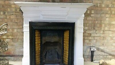 victorian cast iron fireplace with tiles insert +surround