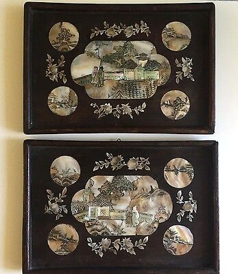 antique pair of chinese tray carved mother of pearl and wood 19TH C