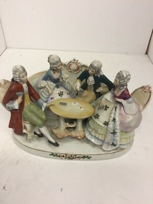 Porcelain Card Players Statue