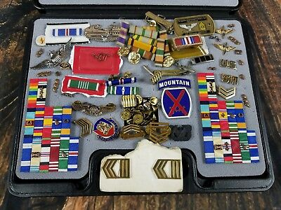 US Army USMC Navy Air Force Uniform Military Insignia With Case Ribbons Pin Lot