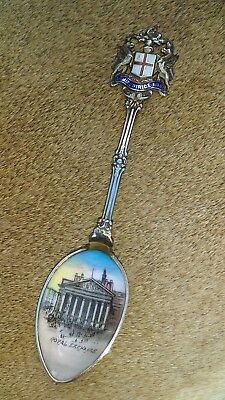 Vintage English Silver Hand Enamelled Royal Exchange Spoon