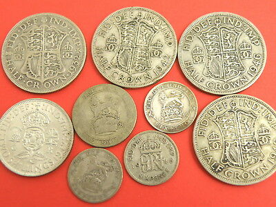 Small KING GEORGE V & VI SILVER COIN GROUP - HALFCROWNS SHILLING SIXPENCES COINS