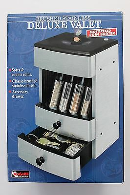 NEW Magnif Brushed Stainless Deluxe Valet Motorized Coin Sorter