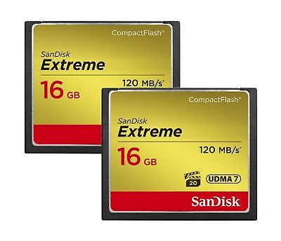 SanDisk SDCFXS2-016G-X46 16 GB Extreme 60 MB/s CompactFlash Card (Pack of 2)