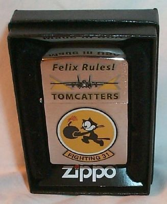 """Fighting VF 31 Squadron """"FELIX RULES""""  TOMCATTERS Zippo US Navy"""