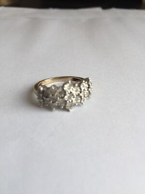 9ct Gold And Diamond Cluster Ring Hallmarked