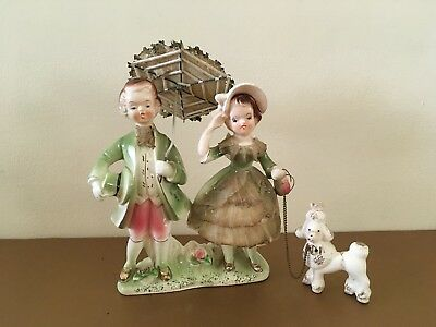 Vintage Ceramic Boy Girl Figurine with Poodle on Chain Lace Dress - Japan