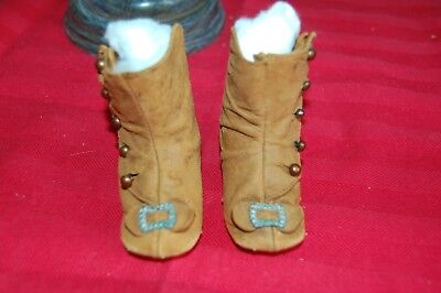Antique doll boots - tan suede - buckles - buttons