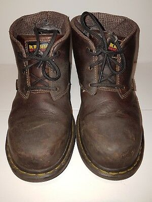 dr martens brown waxed leather steel toe capped boots safety size 6