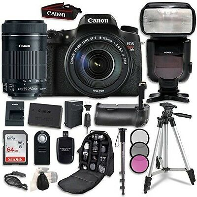 Canon EOS T6s Digital SLR Camera Bundle with Canon EF-S 18-135mm f/3.5-5.6