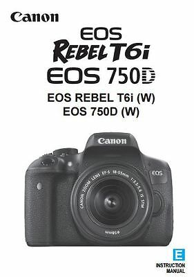Canon EOS Rebel T6i 750D Original Basic Instruction Manual Book in English