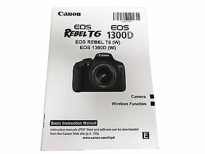 CANON EOS REBEL T6 1300D Original Basic Instruction Manual Book in English