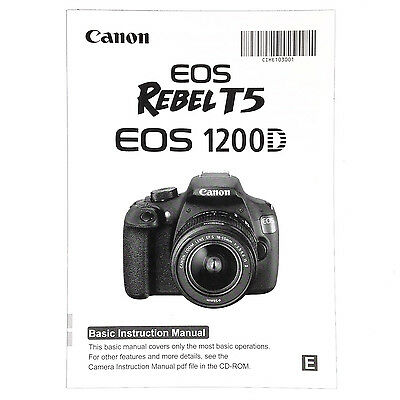 Canon EOS Rebel T5 1200D Original Basic Instruction Manual Book in English