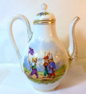 Antique French Chocolate Coffee Tea Pot Hand Ptd Children Revolution Jacobin