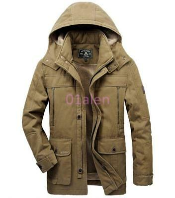 Mens Hooded Outdoor Winter Warm Fleece Jacket Quilted Coat Parka Cotton Ch 2018