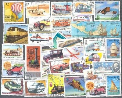 Transport- 100 all different stamp collection-land-sea-air travel