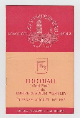 Orig.PRG  Olympic Games LONDON 1948  FOOTBALL SWEDEN - DENMARK  1/2 FINAL ! RARE