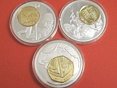 THREE x SILVER PLATED ROYAL SHIELD OF ARMS MEDAL COINS with GOLD PLATED COINS