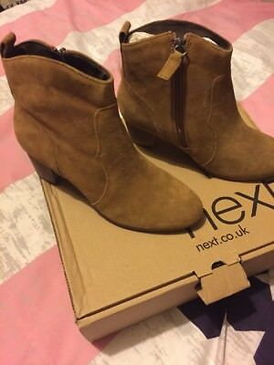 Ladies Next Tan Leather Suede Ankle Boots New In Box 6.5