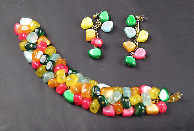 Vintage Signed Napier Multi-colored Glass Beads BRACELET & Pierced EARRINGS