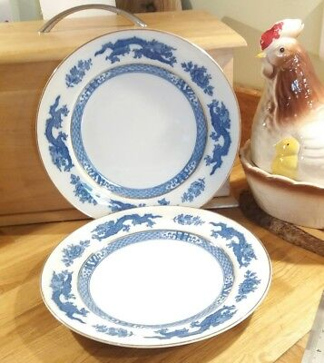 "Two George Jones Crescent 9"" Blue & White Dragon Plates"