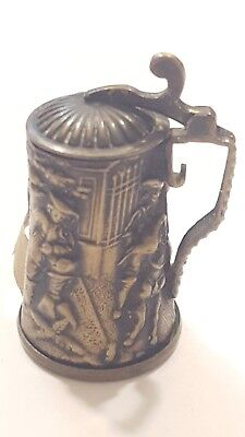Antique Victorian BEER STEIN TAPE MEASURE & thimble holder~RARE Figural