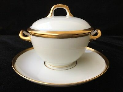 Limoges, France COVERED CREAM SOUP WITH LINER - Excellent condition!