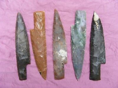 "Wholesale Set Of 5 Approx 6-7"" Stone Knife Blades Spearhead Arrowhead Texas Kn7"