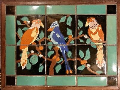 RARE Antique California Tudor Pottery Mission 20 Tile Side Table 3 Exotic Birds