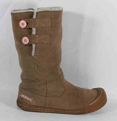Ladies Animal Light Brown Suede Boots Shoes Size 7 40 Faux Sheepskin