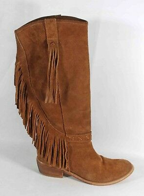 Ladies Bronx Brown Suede Fringed Cowboy Boots Shoes Size 6 39 Lightly Worn