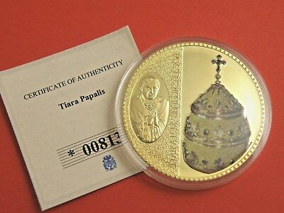 POPE JOHN PAUL II TIARA PAPALIS 50mm GOLD PLATED PROOF COIN MEDAL + RED GARNETS