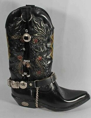 Ladies Kentucky's Western Black Leather Cowboy Boots Size 5 38 Worn Once