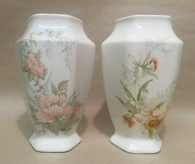 2 x Vintage Melba Ware Pottery Staffordshire England Floral Design Vase Pair