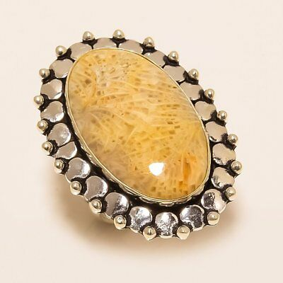 Fossil Coral Gemstone Handmade Ethnic Style .925 Silver Ring Size 7