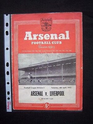 ARSENAL FC - LIVERPOOL FC  1952/53  Division 1   Orig.Programme  !!  VERY RARE
