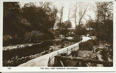 RP Postcard of The Dell, Fort Gardens, Gravesend, Kent