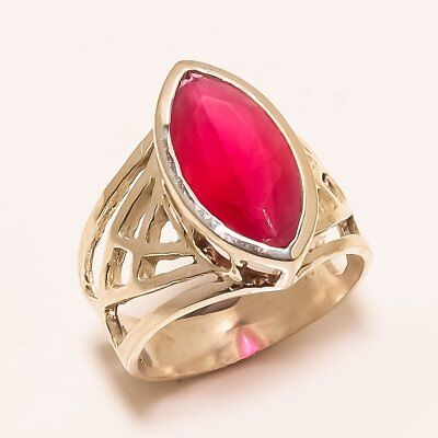Red Ruby Gemstone Handmade Ethnic Style .925 Silver Ring Size 7.5