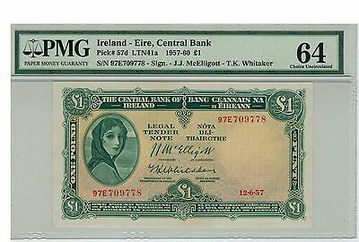 IRELAND 1957 1 POUND P-57d CHOICE UNC PMG 64 - RARE EARLY DATE