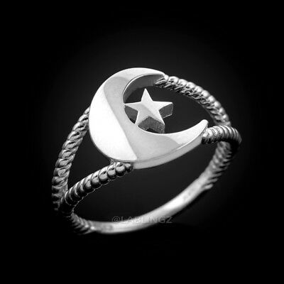 Dainty Sterling Silver Crescent Moon Islamic Ring