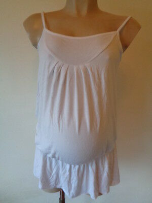 Next Maternity White Bubble Hem Vest Camisole Tunic Top Size 12
