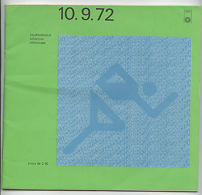 Orig.PRG   Olympic Games MÜNCHEN 1972 - ATHLETICS 10.09. // 9 FINAL`s  !!  RARE