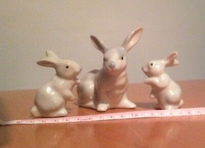 Three Little White Or Pale Grey rabbit ornaments, Beautiful Condition