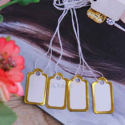 500pcs Paper Jewelry Accessory Garment Price Tag White String Strung Label(Gold)