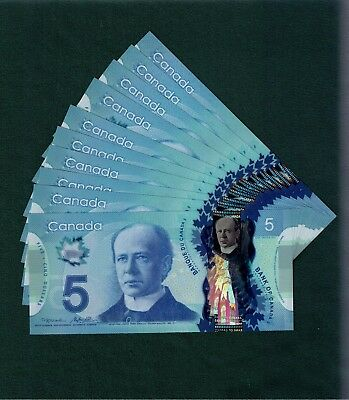 One $5 Polymer Note from the bundle. Prefix HBL. Choice UNC. 2013. Canada