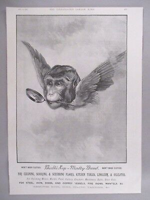 "Brook's Soap, Monkey Brand PRINT AD - 1894 ~ large 10"" x 15""; flying monkey head"