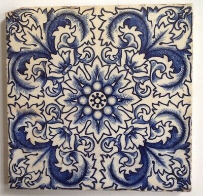GENUINE victorian tiles DEEP BLUE AND WHITE EYE CATCHING! 6X6 INCHES