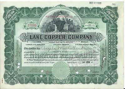 Lake Copper ERROR stock certificate 1919 Wm. Paine signed in wrong place