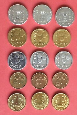 "Lot 15 Israeli ""Agorot"" Coins Different Editions 1970 - 1990 UNC/AU (#0962)"